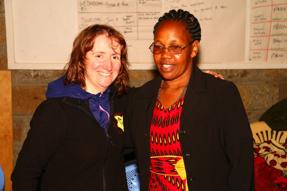 blog images/Harambee Nov 16/project leader Anne Healy with craft produce Monica Wanyoike