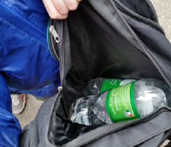Each student carried 3 ltrs of water in a backpack 6km