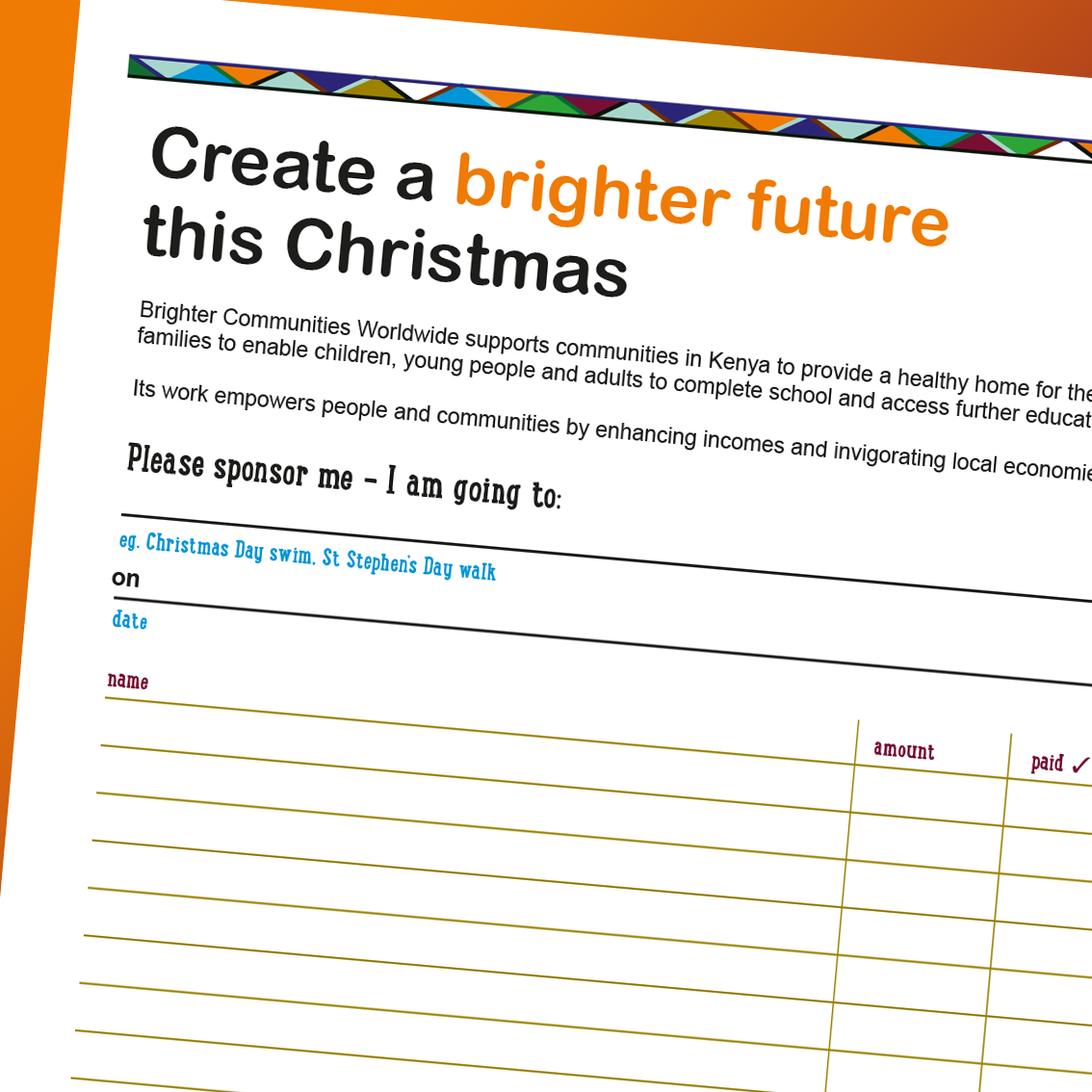 Christmas Appeal/Sponsorship-form